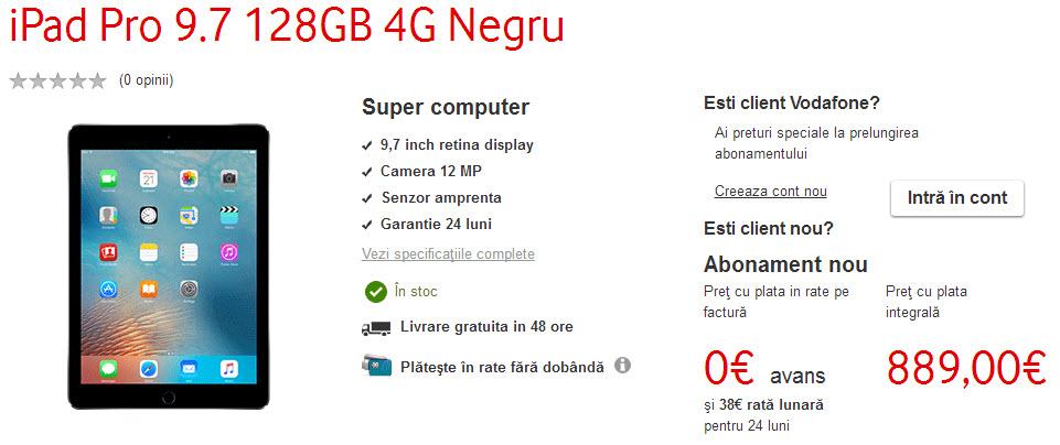 iPad Pro 9.7 inch a ajuns de azi la Vodafone România, cu 4 difuzoare excelente şi camera 4K