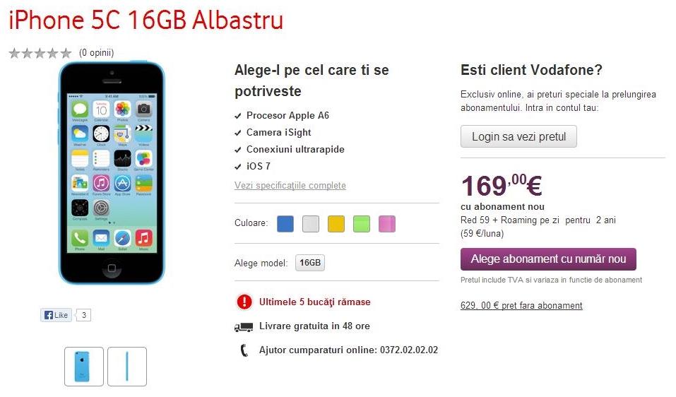 Vodafone anunță disponbilitatea noilor iPhone 5s și iPhone 5c