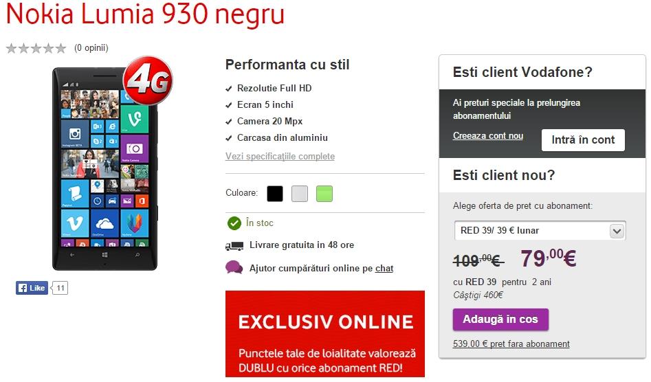Nokia Lumia 930 primește o reducere