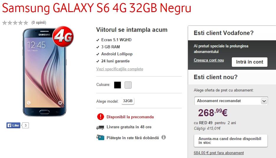 Samsung Galaxy S6 și S6 Edge sosesc la pre-comandă și prin Vodafone România