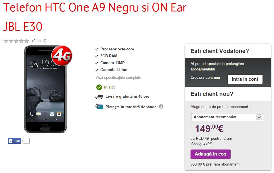 HTC One A9 în versiunea cu 3 GB RAM, ajunge la Vodafone; costă 2480 lei și vine însoțit de o pereche de căști JBL E30