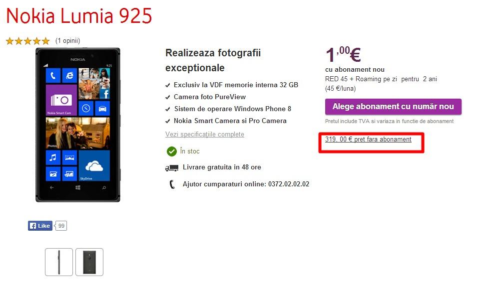 Nokia Lumia 925 (36GB) la doar 419€, respectiv 319€