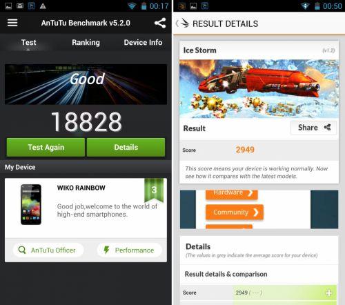 Hai să vedem cum stăm și cu benchmark-urile! Am comparat Wiko Rainbow cu Motorola Moto G 2013, cu HTC Desire 310 și cu Allview P5 Quad.