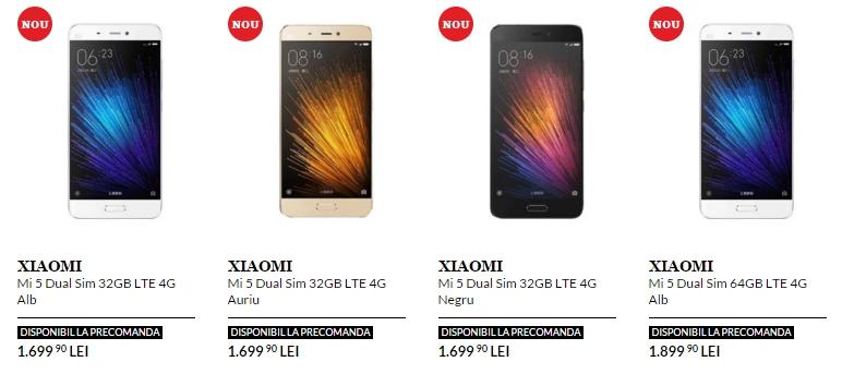 Flagship-ul Xiaomi Mi 5 ajunge la precomandă pe QuickMobile.ro cu prețuri ce pornesc de la 1.699 lei