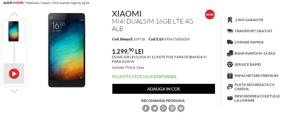 Xiaomi Mi 4i debutează în stocurile QuickMobile.ro la un preț de 1.299 lei