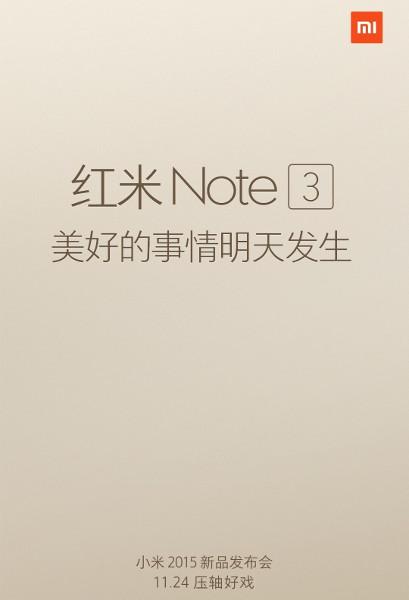 Xiaomi confirmă debutul lui Redmi Note 3 pe 24 noiembrie, printr-un teaser