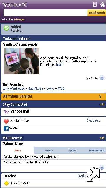 Noua pagina Yahoo mobile