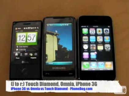 HTC Touch Diamond Versus Samsung Omnia Versus Apple iPhone 3G (Video)