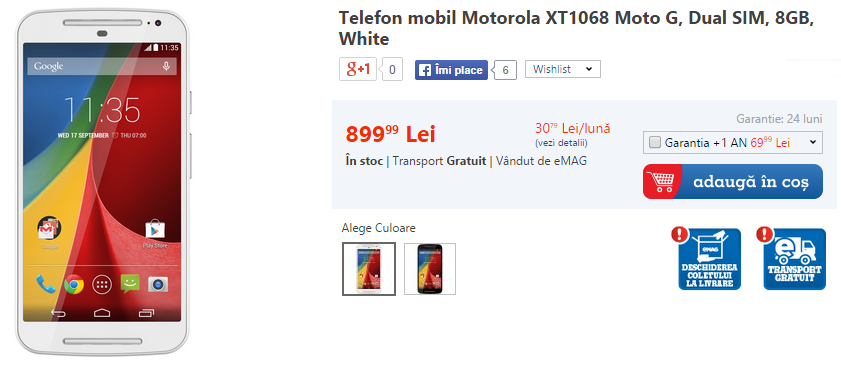 Motorola Moto G (2014) disponibil acum prin eMAG la un preț de 899 lei