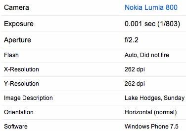 Informatii EXIF Nokia 800