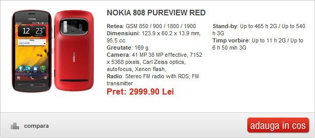 Pret Nokia 808 PureView