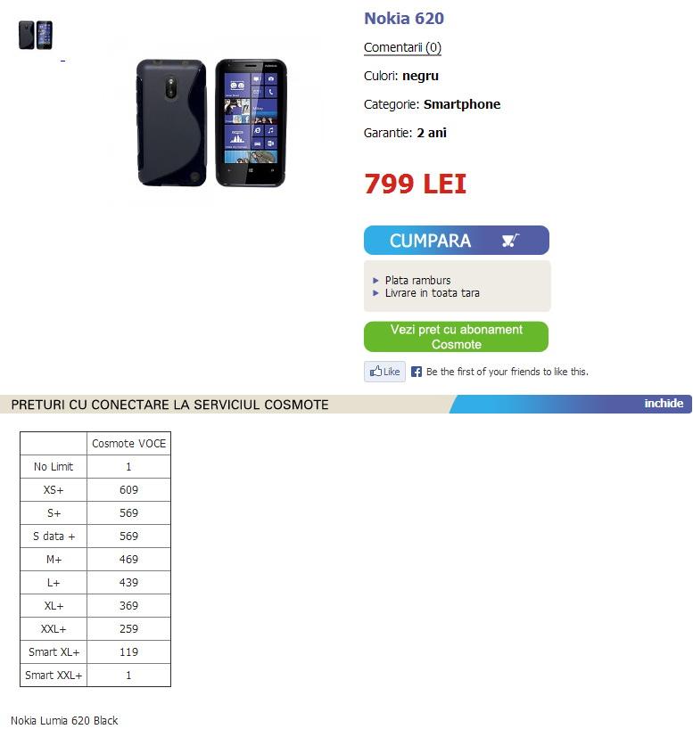 Nokia Lumia 620 În oferta magazinelor Internity la un preț de 799 lei