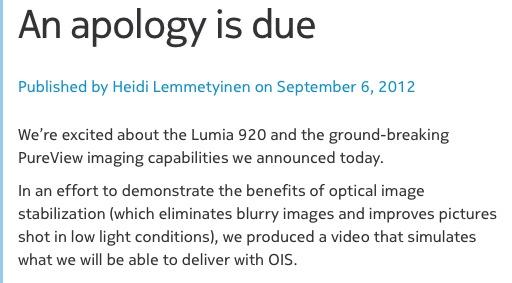 Nokia Lumia 920 & reclama mincinoasa - Nokia isi cere scuze!