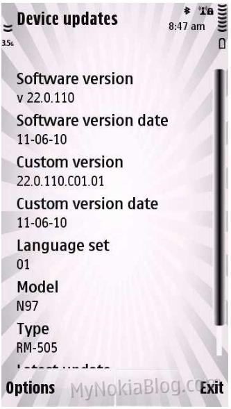 Nokia N97 primeste update-ul de firmware V22.0.110