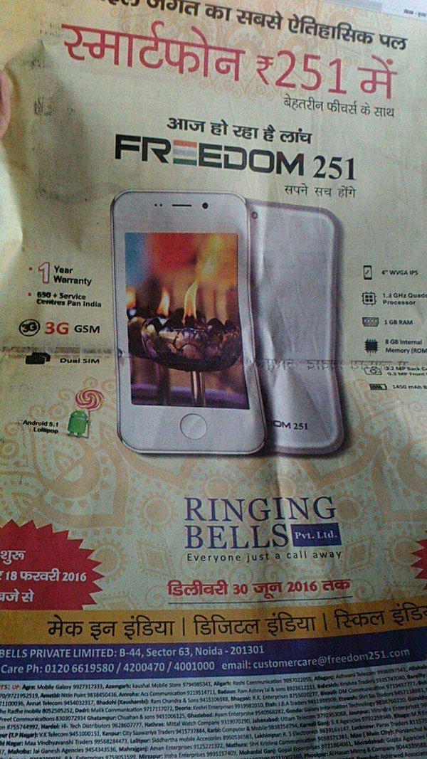 Cel mai ieftin telefon din lume vine din India şi costă doar 4 dolari: Ringing Bells Freedom 251