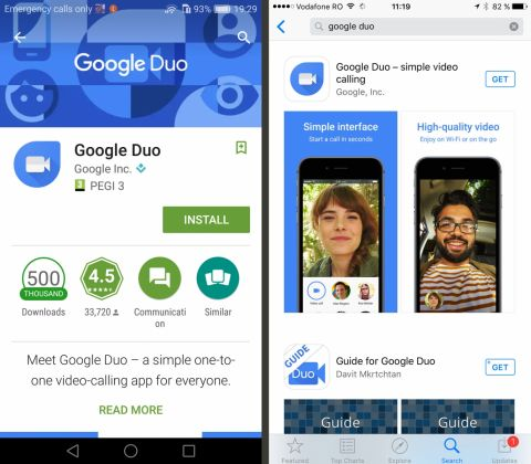 Google DUO, Android si iOS