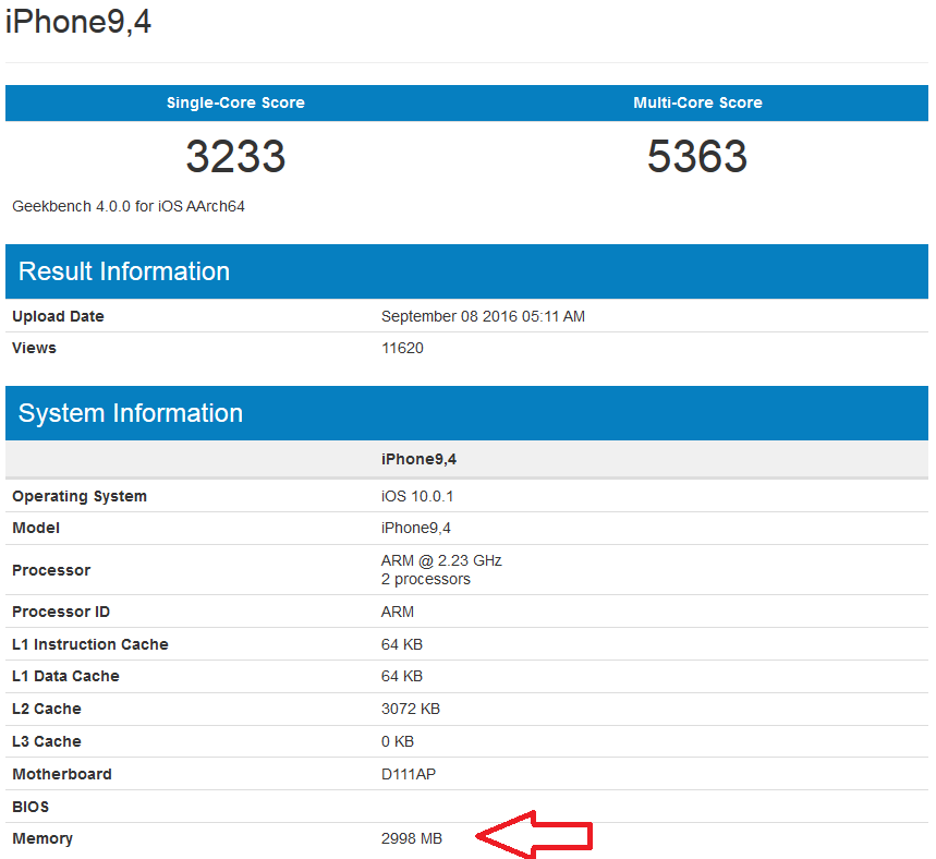 GeekBench iPhone7Plus