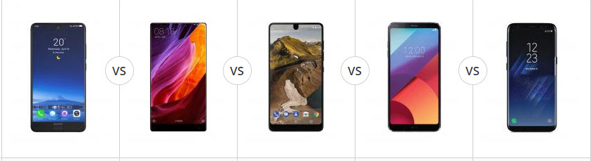 Comparatie Aquos S2, Mi Mix, Essential Phone, LG G6, Galaxy S8