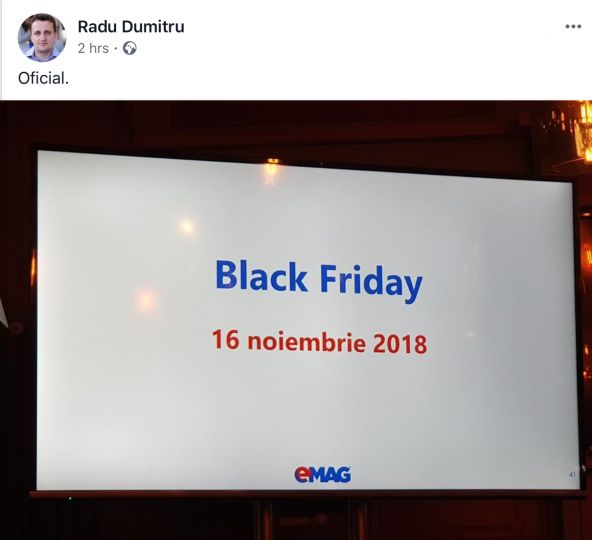 Black Friday 2018 eMAG confirmat oficial.