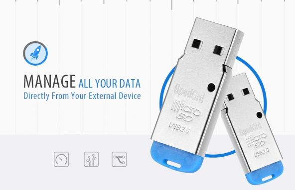 SpedCrd USB 2.0 Micro SD / TF Card Reader - BLUE 2