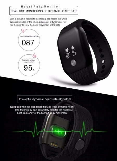 A88+ Dynamic Heart Rate Blood Oxygen Monitor Smart Watch