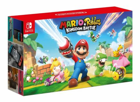 Consolă Nintendo SWITCH culoare Joy-Con Neon Red Neon Blue + Mario+ Rabbids Kingdom Battle