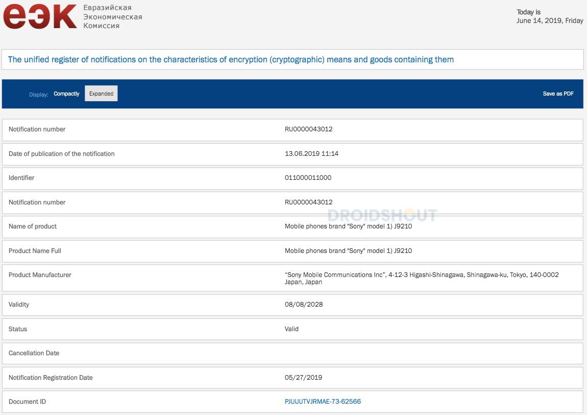 Sony Xperia 2 primește certificarea EEC