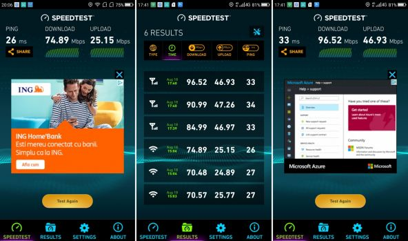 Speedtest UMIDIGI C Note 2