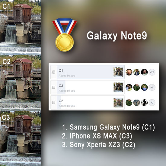 Samsung Galaxy Note 9 vs. iPhone XS Max vs. Sony Xperia XZ3, test de zoom