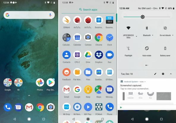 Interfata grafica Xiaomi Mi A2 Lite (screenshots)