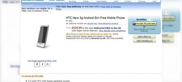 HTC Hero, disponibil prin precomanda pe Amazon UK