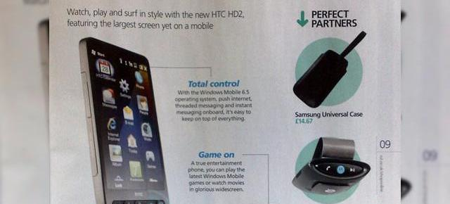 HTC HD2 isi face aparitia oficial in catalogul O2 UK