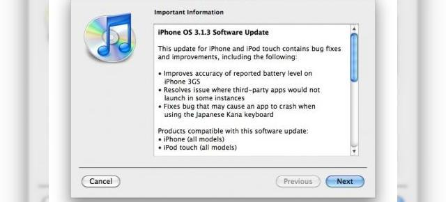 iPhone OS 3.1.3 disponibil acum pe iPhone si iPod touch