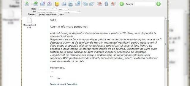 Android 2.1 Eclair, in curand pe HTC Hero (oficial)