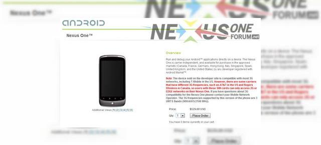 Nexus One revine in stoc... prin Google Developer Store