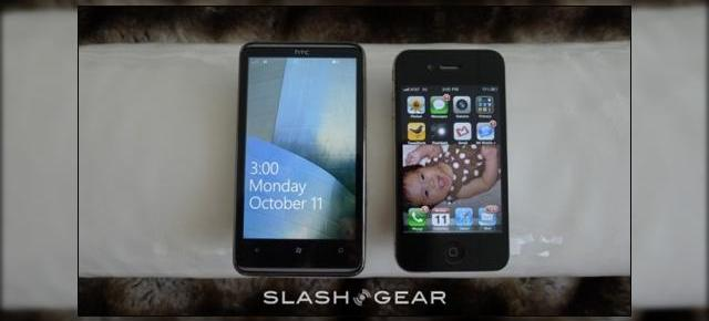 HTC HD7 versus iPhone 4; Windows Phone 7 versus iOS 4