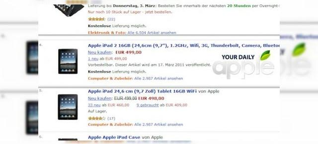 iPad 2 disponibil pe Amazon, În Germania, la prețul de 499 euro?!