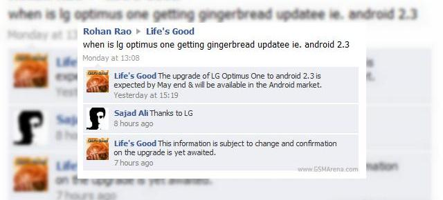 LG Optimus One actualizat la Android 2.3 Gingerbread În mai