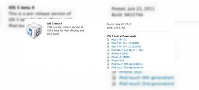 iOS 5 beta 4 disponibil acum, drept primul update via wireless de la Apple