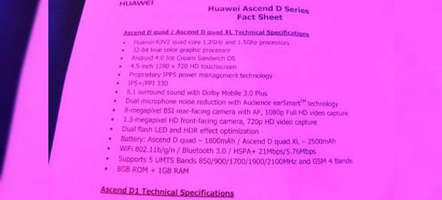 MWC 2012: Huawei Ascend D quad, Ascend D quad XL, Ascend D1 - specificații complete