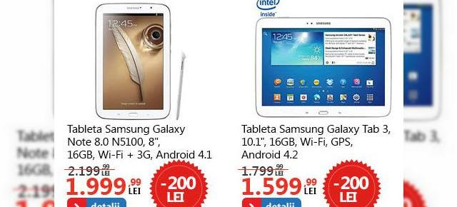 3 tablete interesante la reducere la eMAG.ro: Galaxy Note 8.0, Samsung Galaxy Tab 3 10.1 și Evolio Quadra