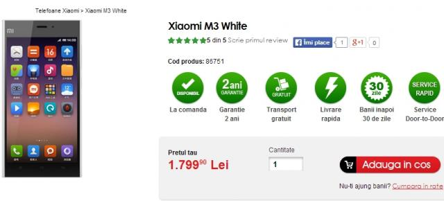 Xiaomi Mi-3 disponibil pe plan local prin intermediul retailerului Quickmobile.ro
