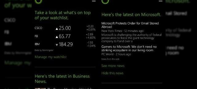 Cortana din Windows Phone 8.1 primește o actualizare, include știri și informații financiare