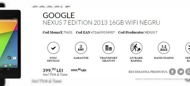 Tableta Google Nexus 7 16 GB WiFi disponibilă acum la un super-preț de doar 399 lei prin QuickMobile.ro