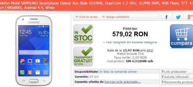 Samsung Galaxy Ace Style și Galaxy Ace 4 LTE disponibile acum prin intermediul MarketOnline.ro