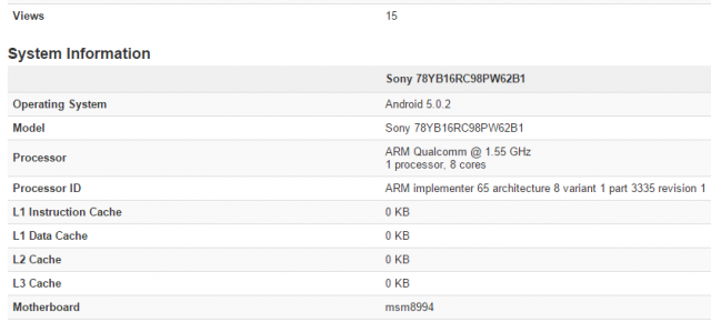 Sony Xperia Z4 apare În benchmarkul GeekBench 3, reconfirmând specificațiile sale: Snapdragon 810, Lollipop