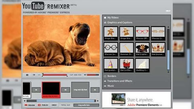 <b>Editeaza-ti clipurile video online cu YouTube Remixer!</b>YouTube tocmai a prezentat oficial YouTube Remixer, un soft online, care permite utilizatorilor sa editeze clipuri video, chiar in cadrul site-ului. YouTube Remixer foloseste platforma Adobe Premiere Express si suporta inserturi grafice, text si audio,...