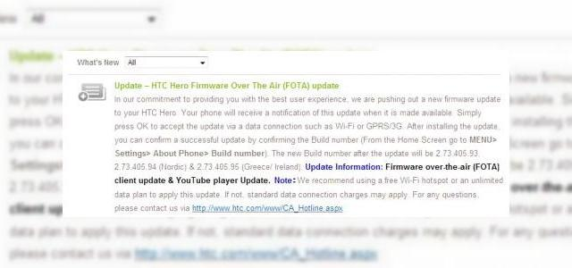 <b>Update pentru HTC Hero, disponibil acum</b>Un nou update OTA (over the air) pentru HTC Hero si-a facut aparitia pe site-ul de suport al celor de la HTC, acesta fiind un upgrade de client firmware over the air. In plus, softul include si un update pentru playerul YouTube. &amp;nbsp; &amp;nbsp; Desi am fi...